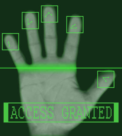 Biometric palm scanning screen with access granted text Stock Photo - 2087228
