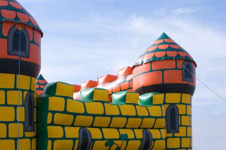 tethered: Childrens bouncy castle Stock Photo