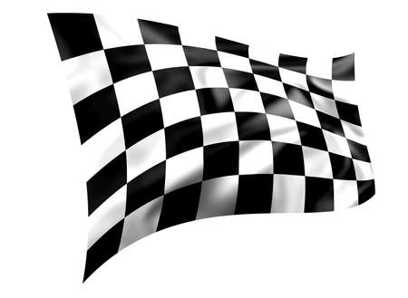 Rippled black and white chequered flag isolated on a white background