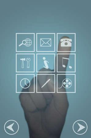 mano touch: Cancella computer touch-screen del menu e la mano