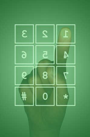 teclado num�rico: Verde ordenador de pantalla t�ctil y teclado num�rico mano