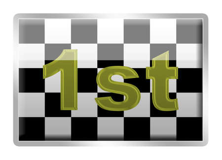 enamel: Chequered Flag glassy enamel badge