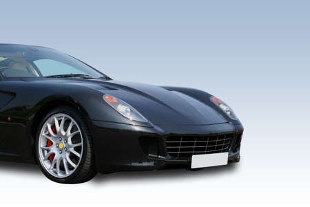 Luxury black sports car on a gradient background