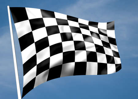 motorsport: Rippled black and white chequered flag with sky background Stock Photo