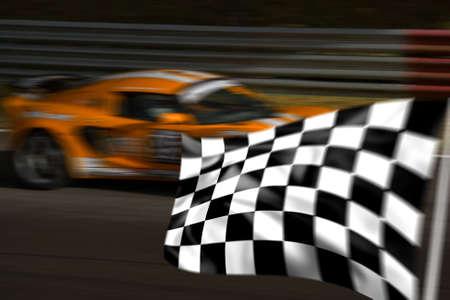 bandera carrera: Orange coche de carreras superaci�n de una bandera a cuadros con el movimiento borroso