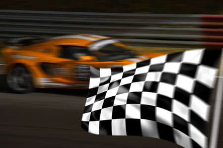 cars race: Orange racing car passing a chequered flag with motion blur Stock Photo