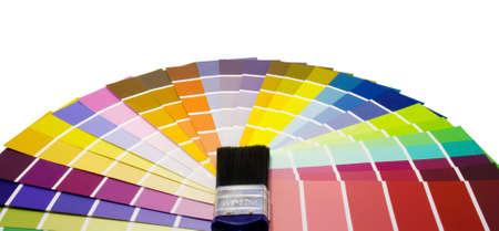 clash: Fan de muestras de pintura de color y pincel  Foto de archivo
