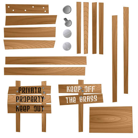 Set of wooden signs and sections so that you can make your own. Available in jpeg and eps8 formats. Ilustração