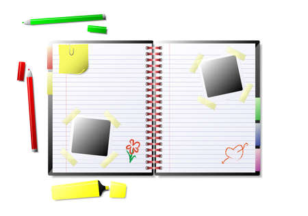 Illustration of an open scrapbook. Available in jpeg and eps8 formats.