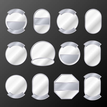 Set of 12 silver badges. Available in jpeg and eps8 formats. Stock Vector - 5548657