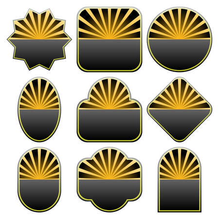 Set of 9 badges designs. Available in jpeg and eps8 formats. Illustration
