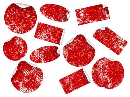Conjunto de etiquetas de color rojas en blanco. Disponible en los formatos jpeg y eps8.