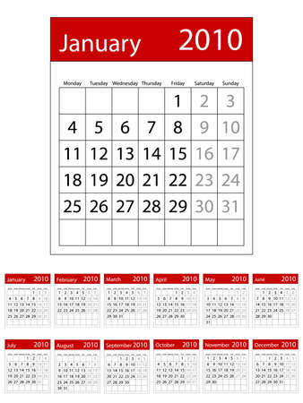 2010 calendar. Available in both jpeg and eps8 formats.