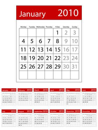 2010 Calendario. Disponible en ambos formatos JPEG y EPS8.