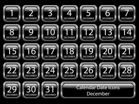 Glossy icon set showing calendar dates for December. Available in jpeg and eps8. Stock Vector - 5548701