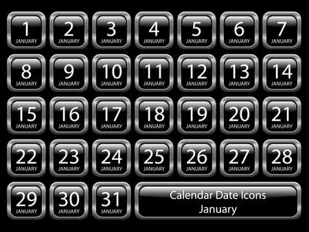 Glossy icon set showing calendar dates for January. Available in jpeg and eps8. Illustration
