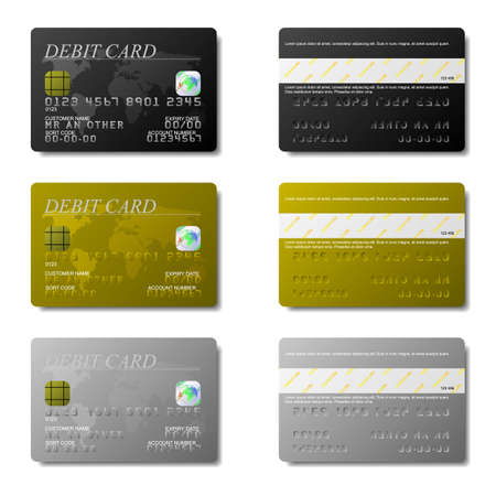 Set of debit cards available in both jpeg and eps8 formats.