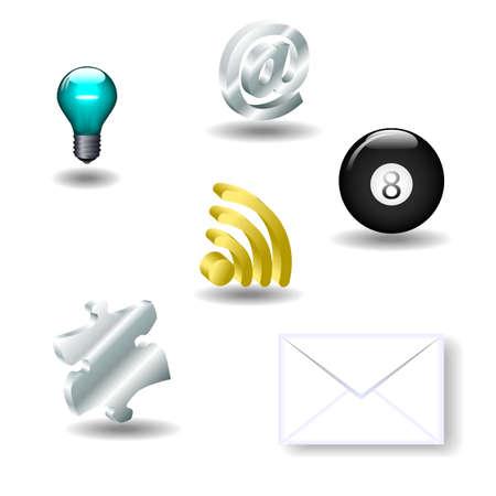 Set de iconos en 3D disponible en formato jpeg y EPS8.