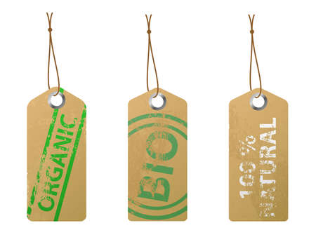 Set of 3 natural labels. Available in jpeg and epss8 formats. Ilustração