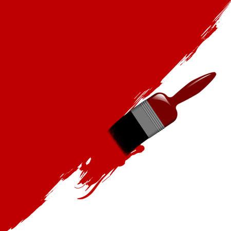 verfblik: Illustratie van een penseel schilderen van een muur. Verkrijgbaar in JPEG en eps8 formaten.