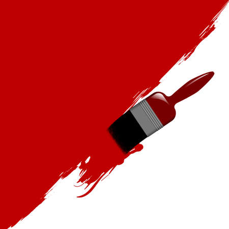 Illustration of a paint brush painting a wall. Available in jpeg and eps8 formats. Illustration