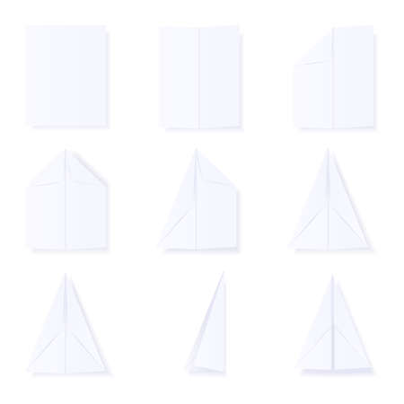 Illustration showing the steps to build a paper plane. available in jpeg and eps8 formats. Illustration