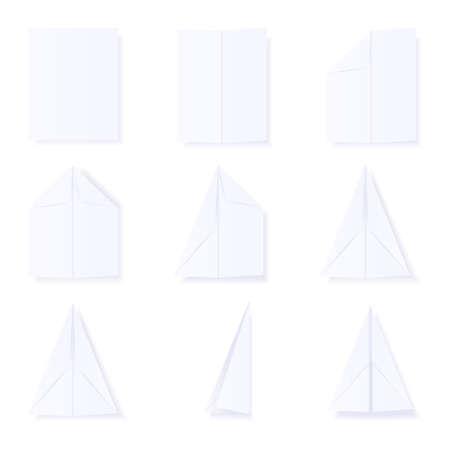 Ilustraci�n que muestra los pasos para construir un avi�n de papel. disponible en los formatos jpeg y eps8.
