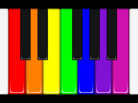 practice primary: Rainbow coloured piano keys. Available in jpeg and eps8 formats. Illustration