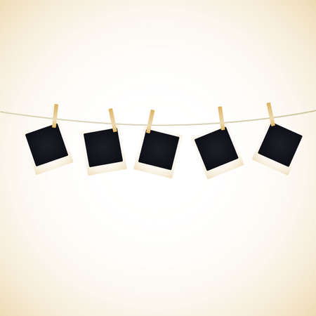 Set of 5 blank photos hanging on a line. Available in jpeg and eps8 formats. Illustration