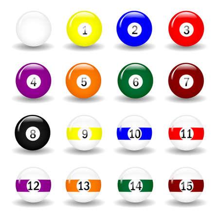 Completo conjunto de bolas de piscina. Disponible en formato jpeg y eps8.