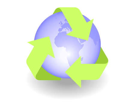 Recycle icon with globe. Available in jpeg and eps8 formats. Vector