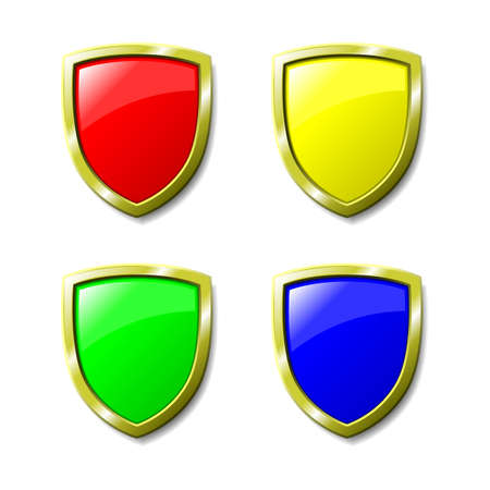 Set of 4 coloured shields. Available in jpeg and eps8 formats. Vector