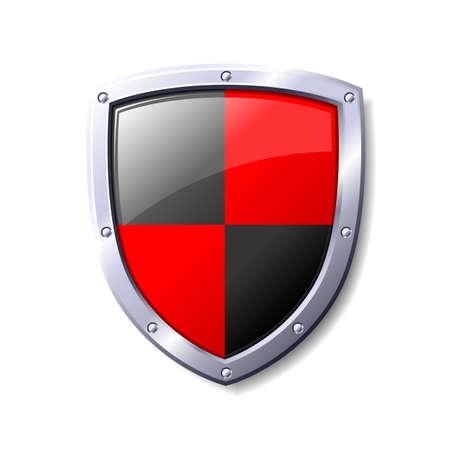 Escudo de rojo y negro. Disponible en los formatos jpeg y eps8.  Vectores