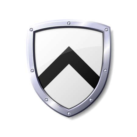 Escudo de color brillante blanco y negro. Disponible en los formatos jpeg y eps8.