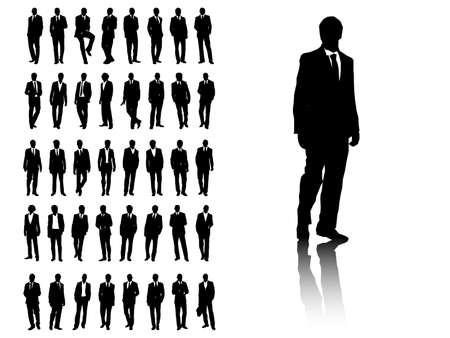 omini bianchi: Set di sagome di uomini di affari. Disponibile in formato jpeg ed eps8. Vettoriali