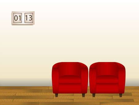 Illustration of 2 chairs in a waiting room. Available in jpeg and eps8 formats. Ilustração