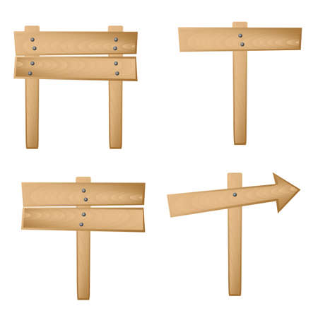 Set de 4 se�ales de madera. Disponible en ambos formatos JPEG y EPS8.