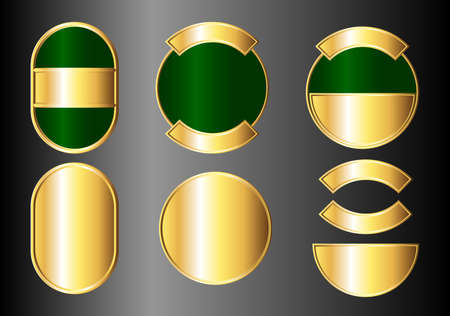 Set of green and gold badges. Available in jpeg and eps8 formats. Vector