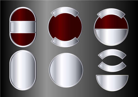 Set of silver and red badges. Available in jpeg and eps8 formats. Illustration