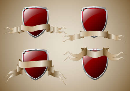 Set of 4 shields with banners. Available in jpeg and eps8 formats. Illustration