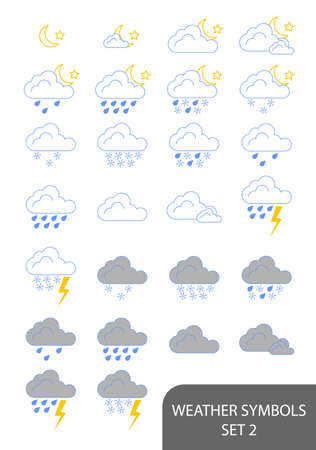 Set of weather symbols. Available in jpeg and eps8 formats. Stock Vector - 5664547
