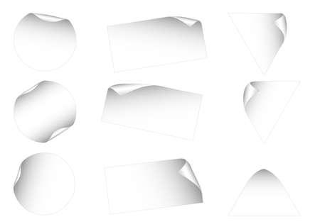Conjunto de 9 etiquetas en blanco. Disponible en los formatos jpeg y eps8.  Vectores