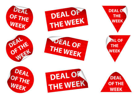 Set of 9 Deal Of The Week labels. Available in jpeg and eps8 formats. Illustration