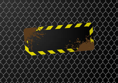 dangerous work: Blank sign on a chain link fence. Available in jpeg and eps8 formats.