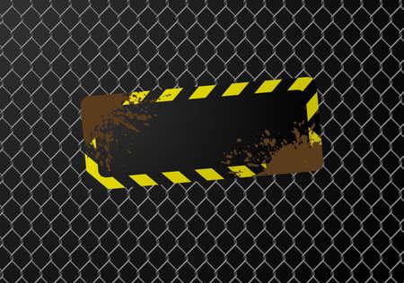 Signo en blanco en una valla de enlace de la cadena. Disponible en los formatos jpeg y eps8.  Vectores