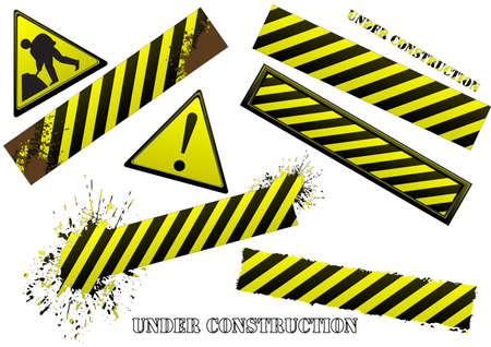 Set of black and yellow signs. Available in jpeg and eps8 formats. Stock Vector - 5819768