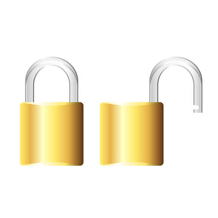 Padlock shown both open and closed Stock Vector - 7749792