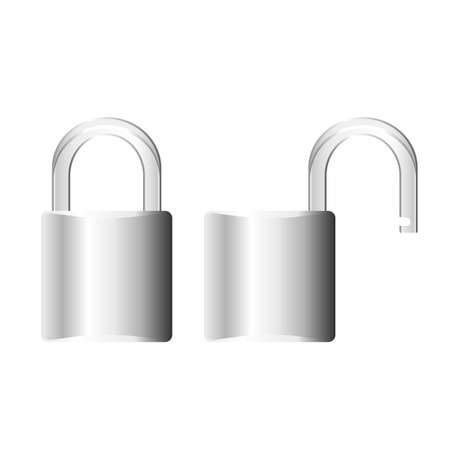 Padlock shown both open and closed Stock Vector - 7749793