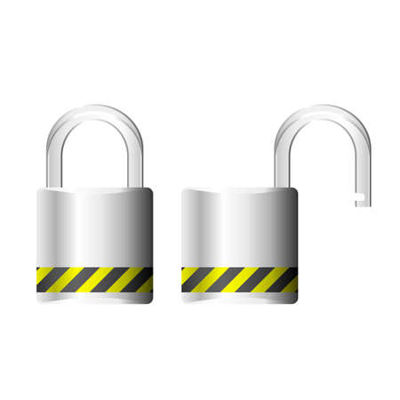Padlock shown both open and closed Stock Vector - 7749794