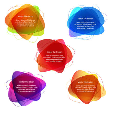 Abstract label designs in various shades and colours